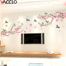 Vacclo Sakura Wall Stickers Decal Bedroom Living room DIY Flower Removable PVC Art Home Decorations Wall Stickers for Kids Room tanie tanio CN(Origin) Plane Wall Sticker Modern For Wall Single-piece Package 0293 cartoon 0000000000 home decor wall decal on smooth walls doors glass cabinets appliance