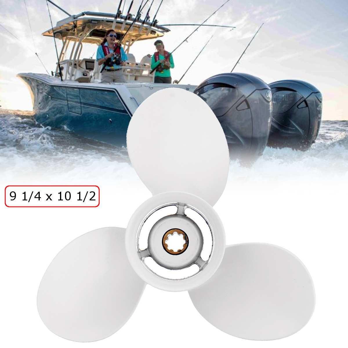 Outboard Propeller 683-45943-00-EL 9 1/4 X 10 1/2 White For Yamaha 9.9-20HP Aluminum Alloy R-Rotation 3 Blades 8 Spline Tooths