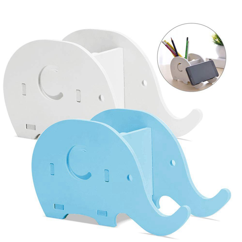 2 Pieces Elephant Shape Desk Pencil Pen Holder,Wood Board Stationery Multifunctional Organizer With Cell Phone Stand For Offic