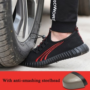 Image 4 - Steel head mesh mens safety shoes, lightweight and breathable mens work shoes, non slip wearable mens boots rubber sole