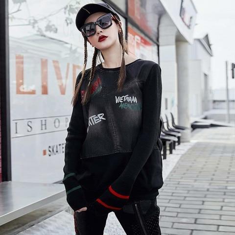 Max LuLu Famous Brand Ladies Punk Knitted Tops Tee Shirts Womens Denim Long Sleeve T-shirt Vintage Ladies Harajuku Winter Tshirt Lahore