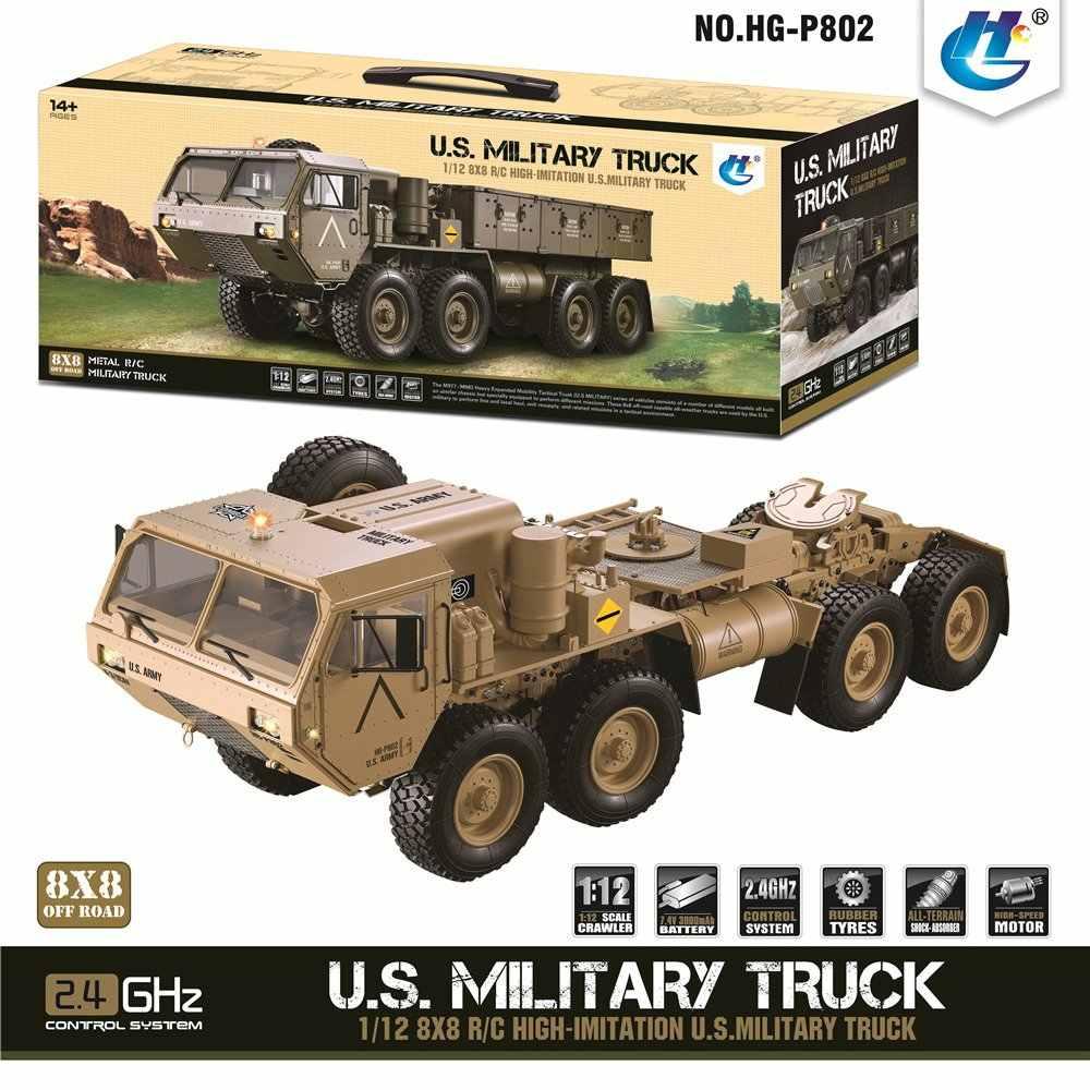 Terbaru HG P801 P802 1/12 2.4G M983 739 Mm Brushed RC Mobil Kami Truk Militer Pasukan Tanpa Baterai Charger rcing Mobil untuk Hadiah Anak