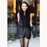 Autumn Winter Women Patchwork Pu Leather Vests Faux Fur Stitching Long Waistcoats Fur Collar Plus Size Black Vest
