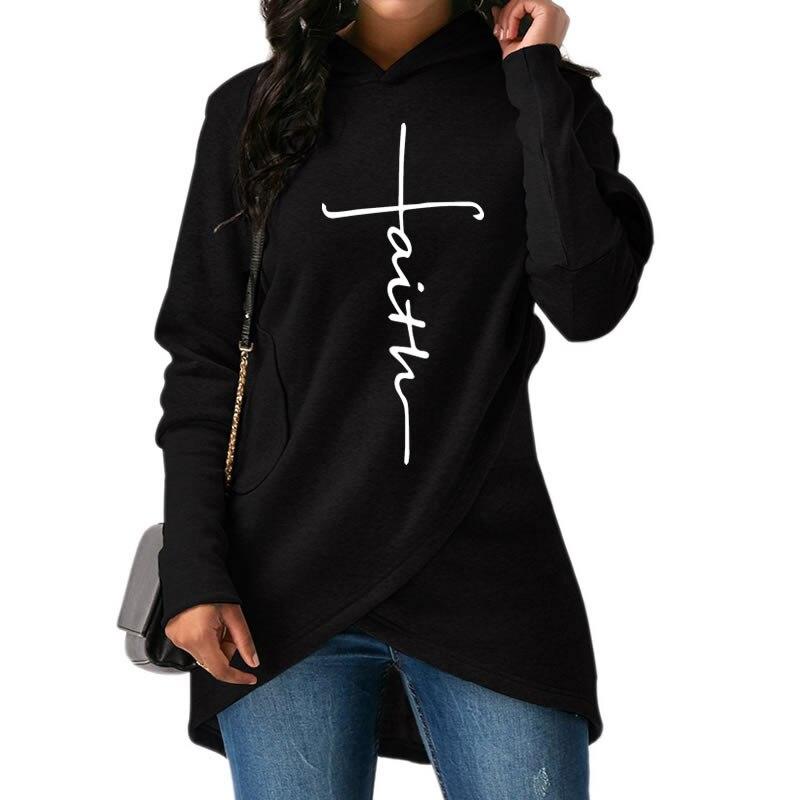 2019 nueva moda Faith Print Kawaii Sudadera Mujer Sudaderas mujeres jóvenes mujer bolsillos creativos talla grande