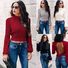 New Fashion Women Casual Knitted Crop Tops Sweater Vest Backless Long Sleeve Sweater(China)