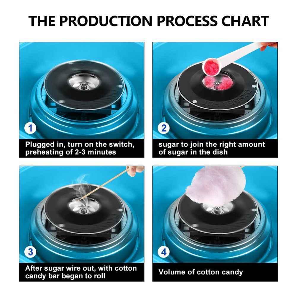 220 v Azul Festa de Açúcar Máquina De Algodão Doce Elétrica Cotton Candy Maker DIY Com Plugue DA UE