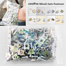 100pcs Auto Fasteners Car Door Panel Trims Fixed Screw U Type Gasket Clip Kits Universal Clips accessories