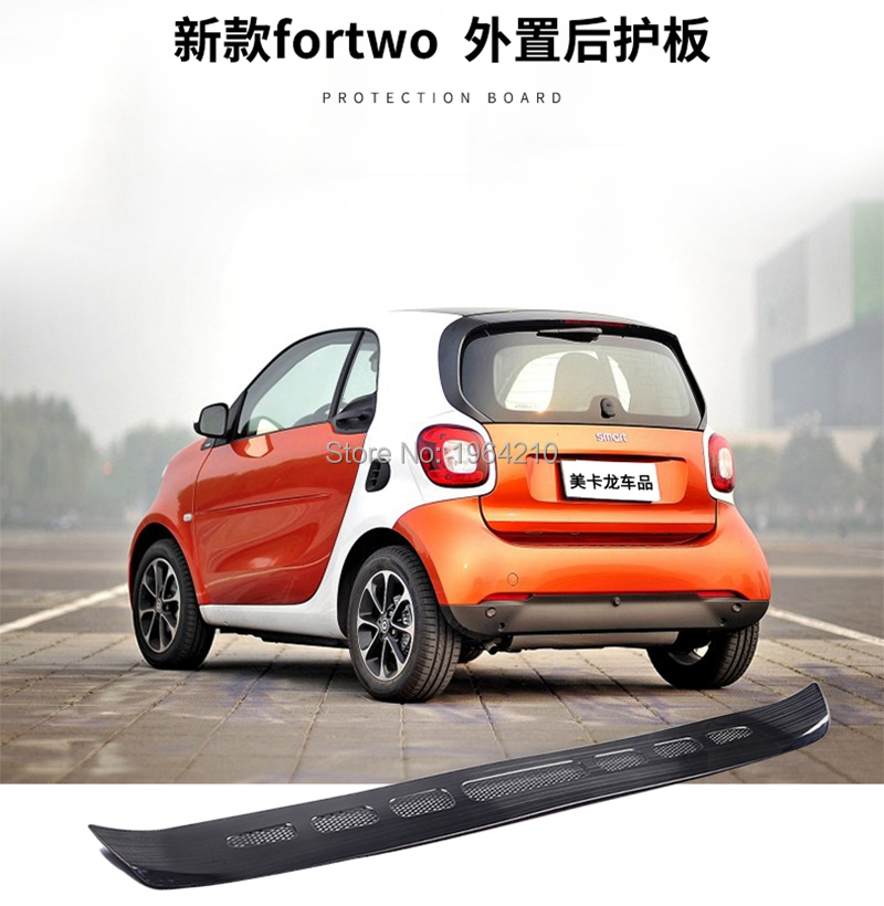 For Merced-Benz Smart 453 2015-2018 Stainless Steel Outer Rear Bumper Protector Cover Trims Sill 1Pcs Only Fit Fortwo 2Doors