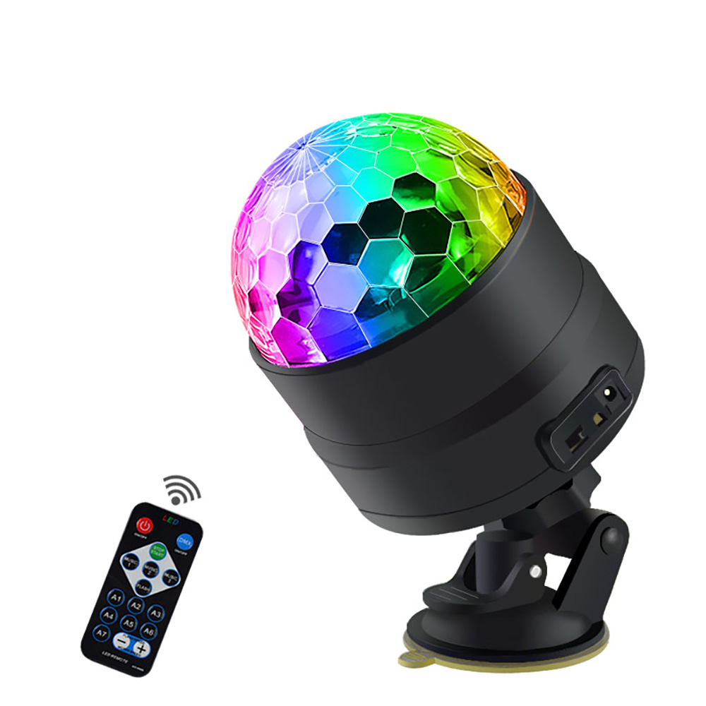 LED Interior Car Lights Disco Ball 4 Color With Remote Control  USB Stage Light Inside The Car Projector Dj Party Light