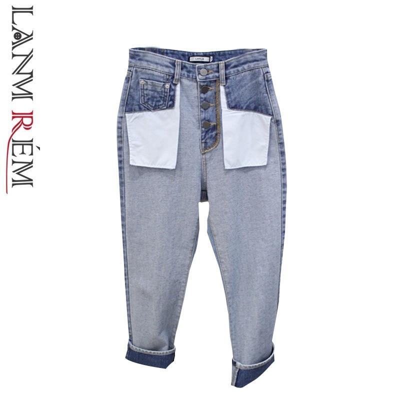 100% QualitäT Lanmrem 2019 Neue Mode Koreanische Jeans Für Frauen Lose Hohe Taille Blau Allgleiches Breite Bein Direkt Hosen Hosen Heißer Verkauf Yg718