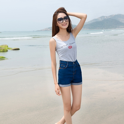 Summer Denim Short Jeans For Women Casual Slim High Waist Stretch Jeans Shaping Ladies Highwaisted Shorts Denim Hotpants 2019 1