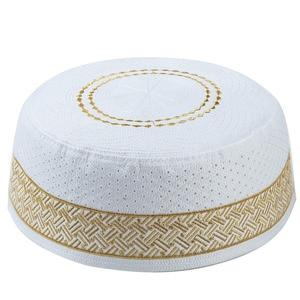 Image 3 - Hombres islámicos sombreros musulmanes de oración Kippah egipcio Kufi Topi bordado Koofi Cap paquistaní Namaz Beanies sombrero azul mumulman Veludo