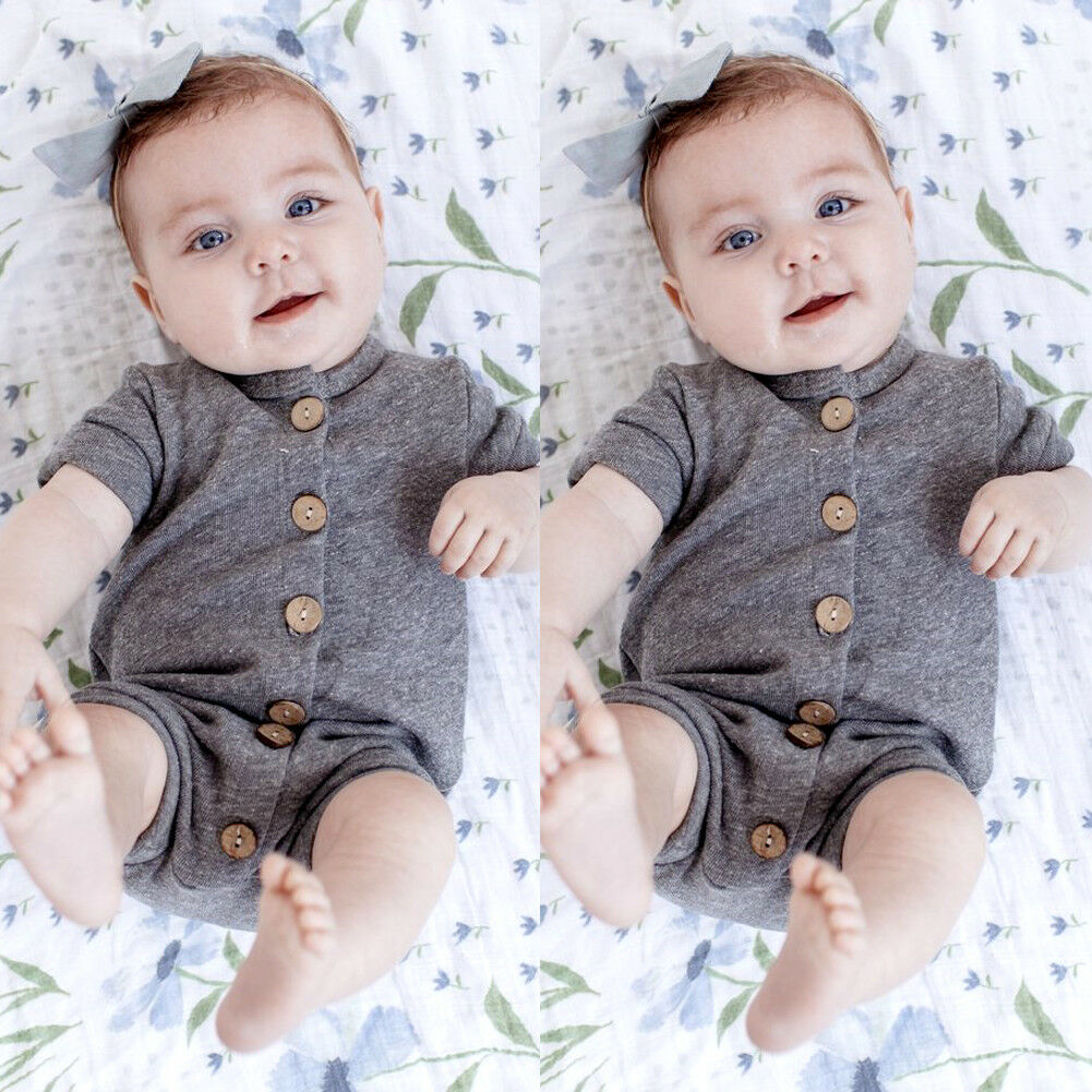 Pudcoco Baby Jumpsuits 0-24M UK Newborn Baby Boys Girl Casual   Romper   Jumpsuit Cotton Clothes Outfits
