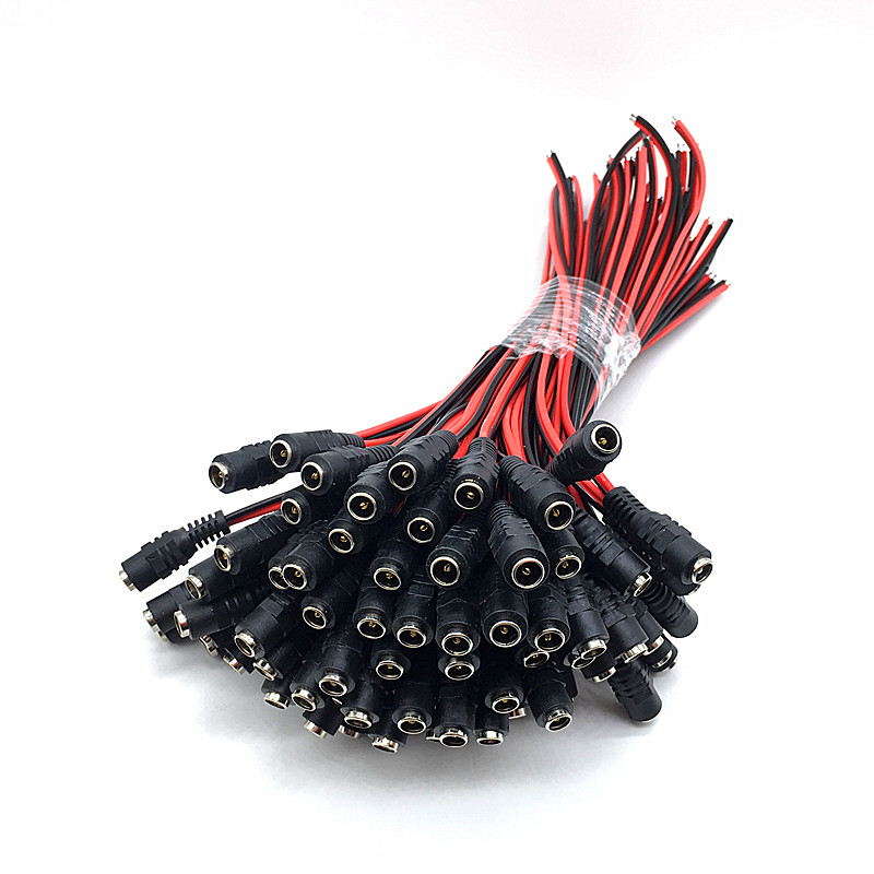 Wholesale 100pcs 12V <font><b>DC</b></font> Connectors Female Socket Jack Cable Adapter <font><b>Plug</b></font> Power <font><b>5.5</b></font> x 2.1mm for LED Strip Light CCTV Camera image