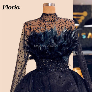 Image 4 - Dubai Design Feathers Navy Blue Evening Dresses Abendkleider Islamic Prom Dress For Weddings Vestido Arabic Beaded Pageant Gowns