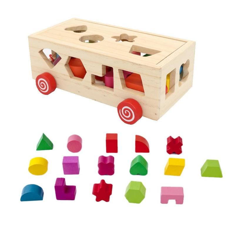 Baby Wooden Building Blocks Children Montessori Educational Toy Kids Intelligence Matching Game Toy Cognitive Sorter Wood Box(China)