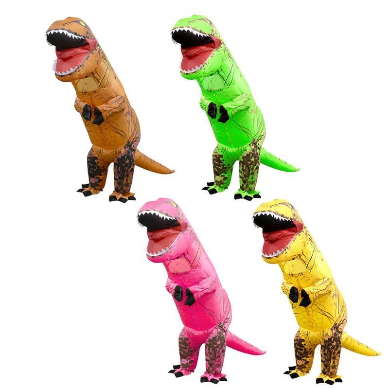 Opblaasbare Dinosaurus Kostuum Voor Volwassen Kinderen Kerst Cosplay Jumpsuit Halloween 3d Stand Rijden Kostuum Kind Partij Cosplay Pak Nourishing The Kidneys Relieving Rheumatism
