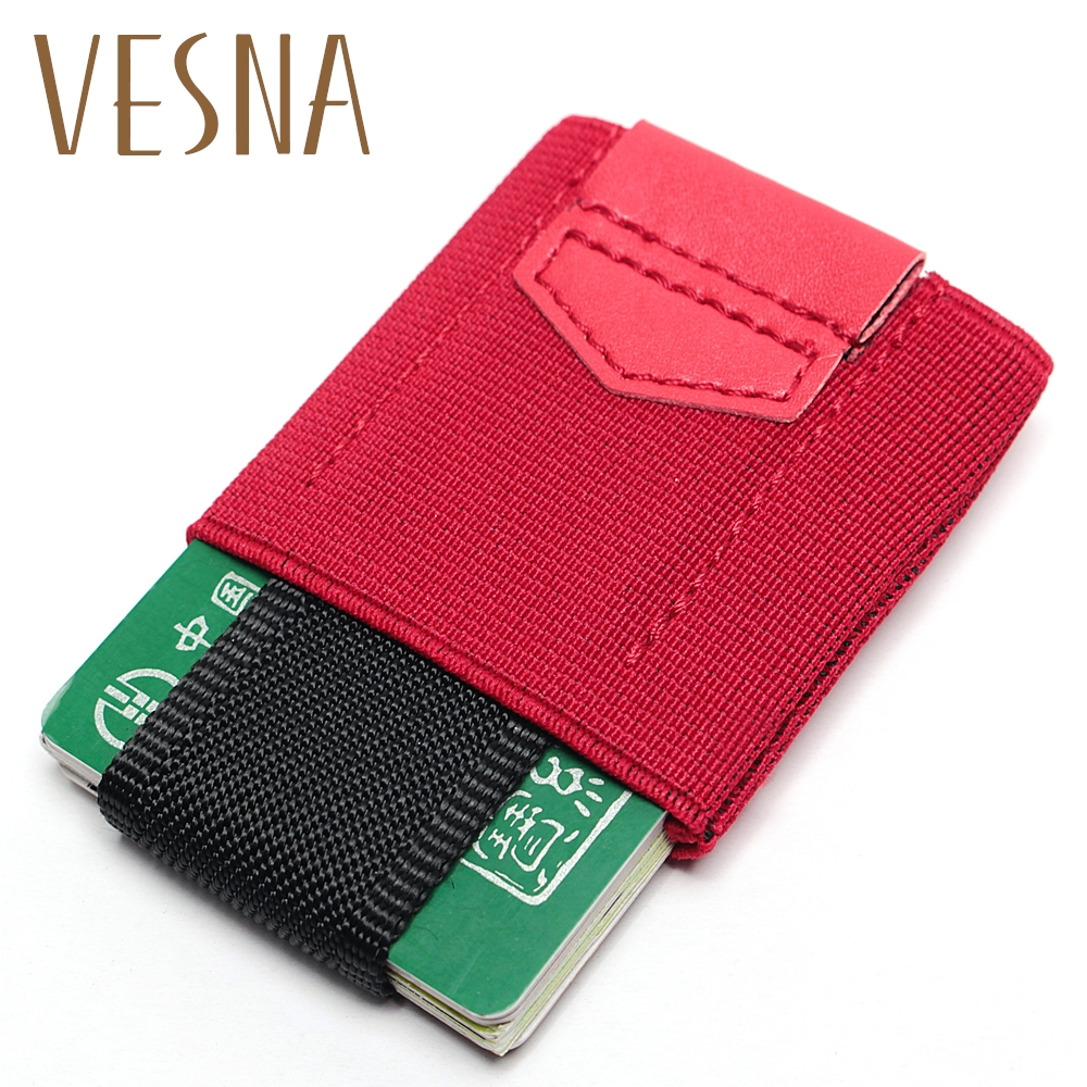 Vesna New Creative Credit Card Holder With Elastic Band Slim Wallet For Women Man Small Magic Business Case Unisex
