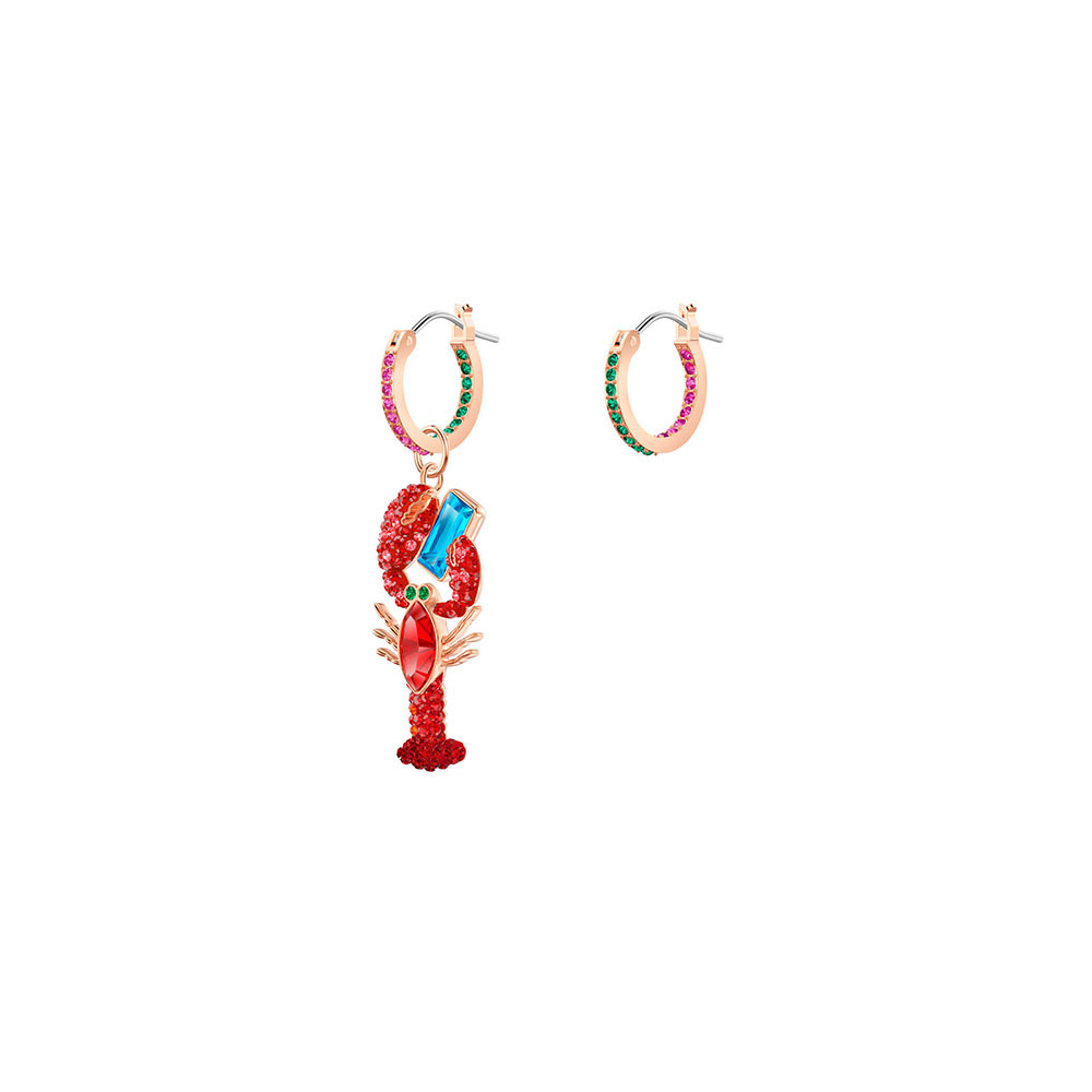 Trendy Bright Summer 1:1 Swa Asymmetric Lobster Pierced Silver Crystal Earrings For Women Fine Jewelry Favourite