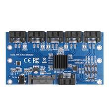 חם בקר כרטיס לוח האם Sata הרחבת כרטיס 1 כדי 5 יציאת Sata3.0 6Gbps מכפיל Sata יציאת Riser כרטיס מתאם עבור Comp