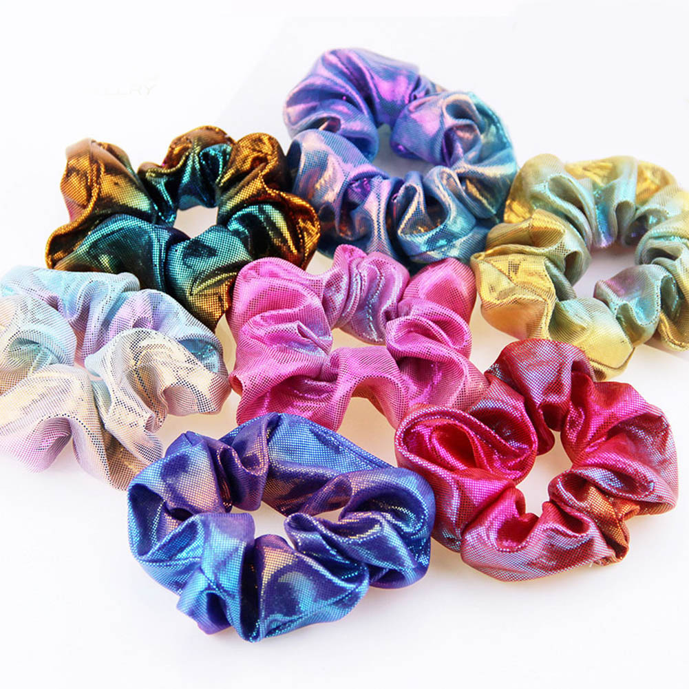 Bronzing Colorful Rainbow Fabric Elastic Hair Rope Scrunchie Glitter Hair Rings Accessories Women Girls Ponytail Holder   Headwear