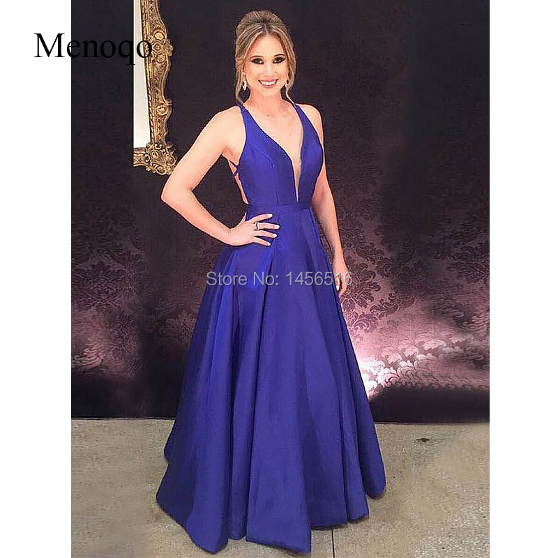 A-Line V-neck Sleeveless Floor-Length With Ruffles Satin   Prom     Dresses   Royal blue