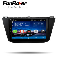Funrover 10.1 Android 8.0 2 din Car Radio Multimedia player for VW Volkswagen Tiguan 2016 2018 dvd gps navigation stereo RDS EQ