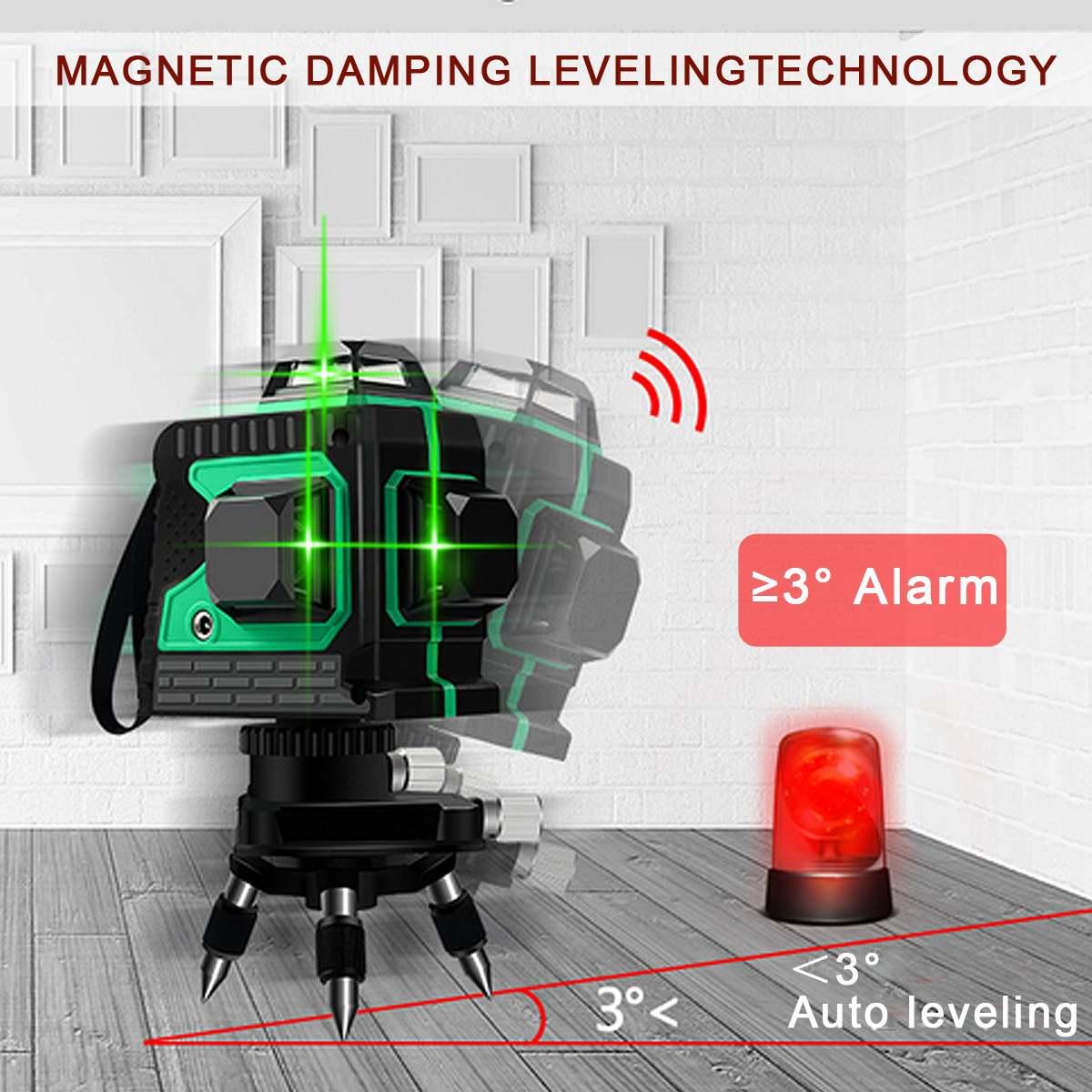 12 linie 360 Horizontale Vertikale Kreuz 3D Grünes Licht Laser Ebene Selbst Nivellierung Messen Super Leistungsstarke Laser Strahl w /Stativ