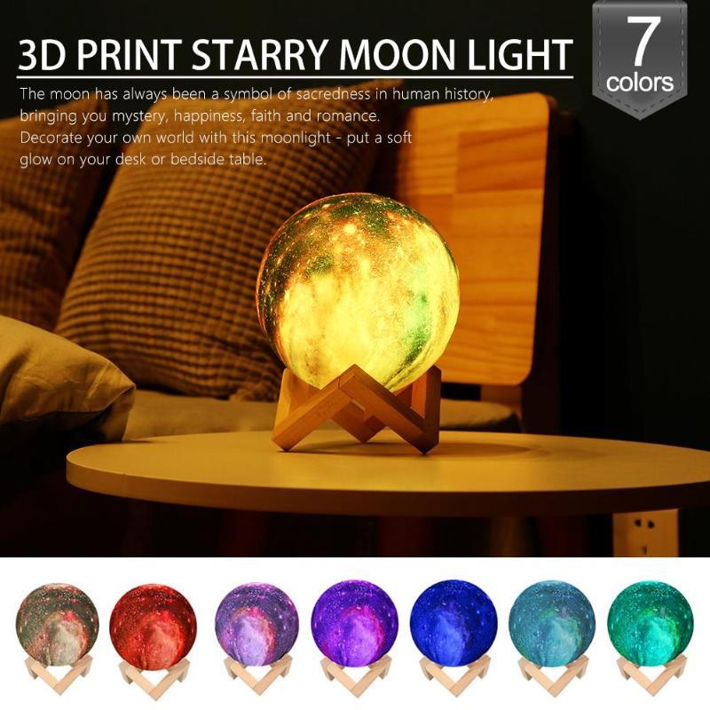 3D Print Starry Sky Star Moon Lamp 7 Col