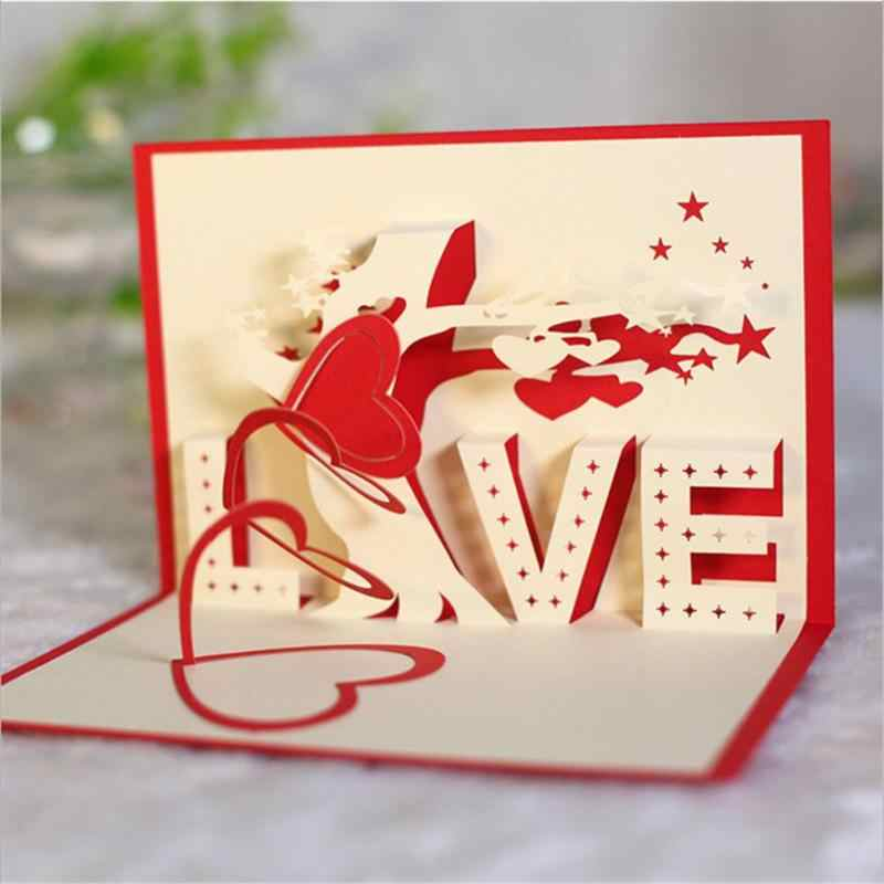 3D Love Tree Birthday Greeting Cards Folding Blessing Message Card Valentines Day Gift For Girlfriend