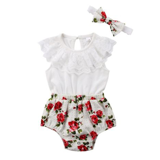 b71401762da3 2019 Newborn Baby Rompers Toddler Girl Floral Print Lace Romper Jumpsuit Headband  Outfit Baby Girl Summer Clothes