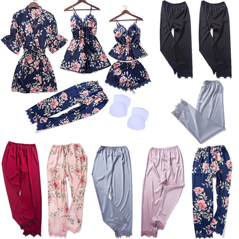 Casual Women Sleepwear Silk Satin Sleep Bottoms Soft Floral Elastic Waist Pants Nightwear Lace Loungewear Lady Sleepwear