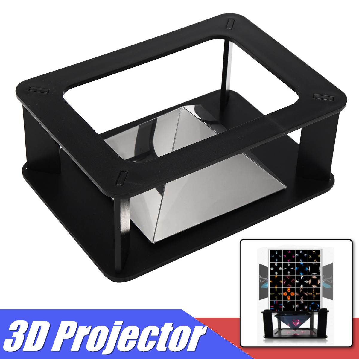 3D Universal Hologram Pyramid Video Box Screen Display Stand Projector For Smartphone Holographic Projection Accessories