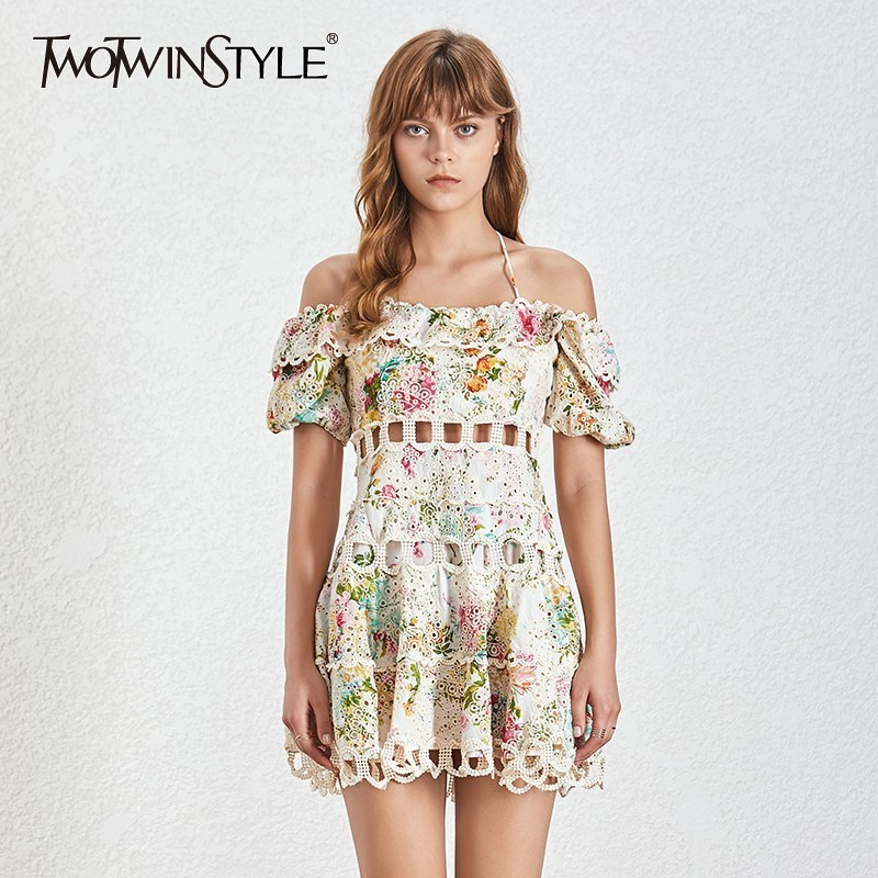 TWOTWINSTYLE Puff Sleeve Hollow Out Mini Dress TDR19545