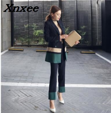 Business suit set women blazer pants two pieces set office lady elegant formal jacket outfits female