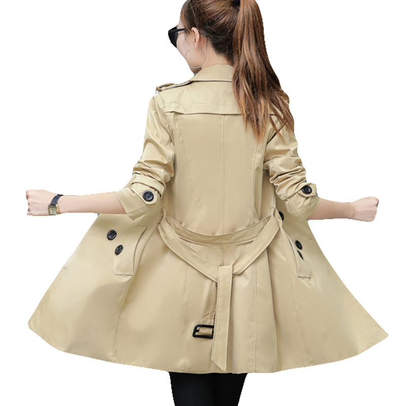 2019 Autumn Women Double Breasted Long   Trench   Coat Khaki With Belt Classic Casual Office Lady For Work Business Outwear Fall New
