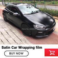 premium quality Matte Satin Black Vinyl Car Wrap Air Bubble Free For Car Wrapping Foil Extravagant vinyl 1.52M*20M/roll