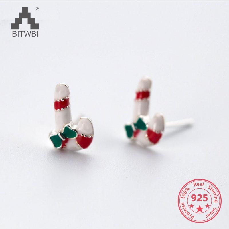 2019 Mode Neue Stil 925 Sterling Silber Kreative Nette Süße Lebendige Mini Corlorful Weihnachten Candy Cane Kranz Stud Ohrring