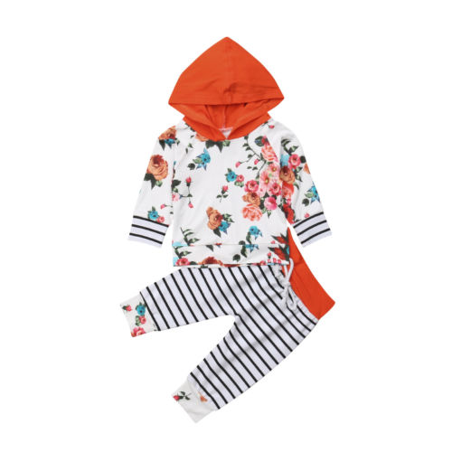 db2a6198da39 Autumn Newboen Infant Kid Baby Girl Boy Clothes Sets Floral Hoodies ...