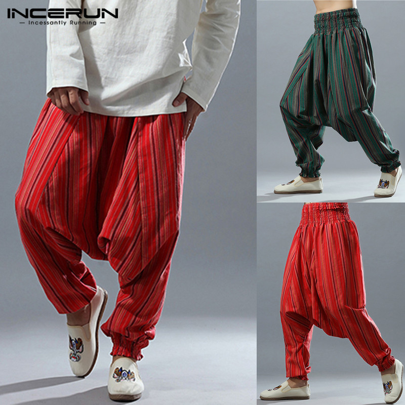Ethnic Punk Harem Pant Men Long Pants Big Crotch Striped Pants Dance Hip-hop Harajuku Trousers Men Joggers Pantalon Hombre 2019