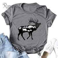 Romacci 5XL Plus size Cotton T-shirt Summer Women Cute Animal Print T Shirt O Neck Short Sleeve Harajuku Bear Deer Printed Top