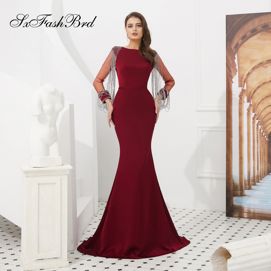 Abendkleider O Neck Beading Long Sleeves Mermaid Satin Elegant Long Formal Women Evening Dresses Simple Prom Party Dress Gown