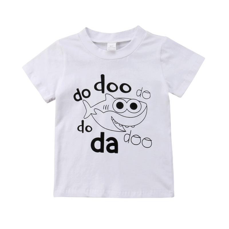 Summer <font><b>Baby</b></font> Kids White T-Shirt <font><b>Animal</b></font> Do Doo Fish Print Short Sleeve <font><b>Tshirts</b></font> Boys Girls Newborn Cute Outfit Cotton Tops Clothes image