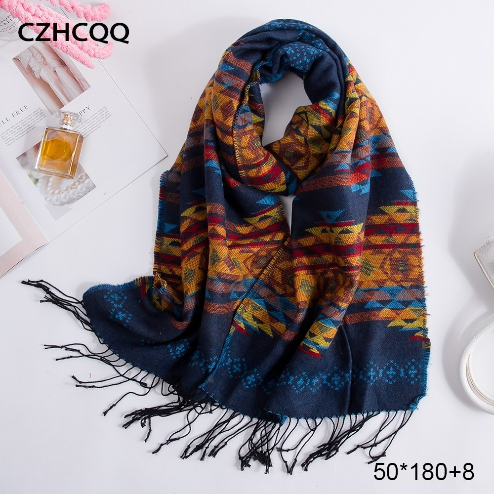 CZHCQQ Long Cashmere Scarf Women Shawls Bandana Warm Foulard Femme Stoles Wool Women Scarves Winter For Luxury Brand Ladies 2019