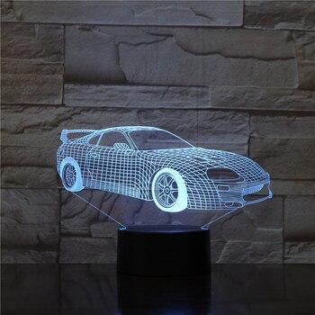 Lámpara Led de noche para coche deportivo Lámpara decorativa Multicolor Rgb para...