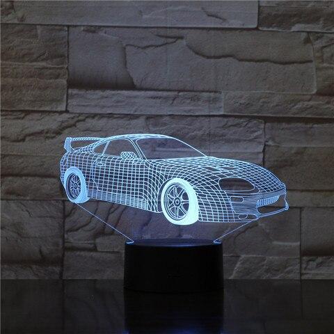 luminaria led 3d super esportiva para noite e carro ilusao multicolor rgb criancas presente lampada