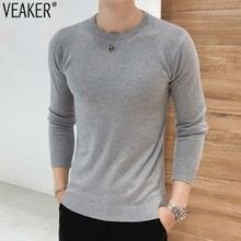 2018 Autumn New Men's Slim Fit Pullover Sweaters Male Solid Color O-Neck Sweater Black White Knitted Pullover Tops S-2XL
