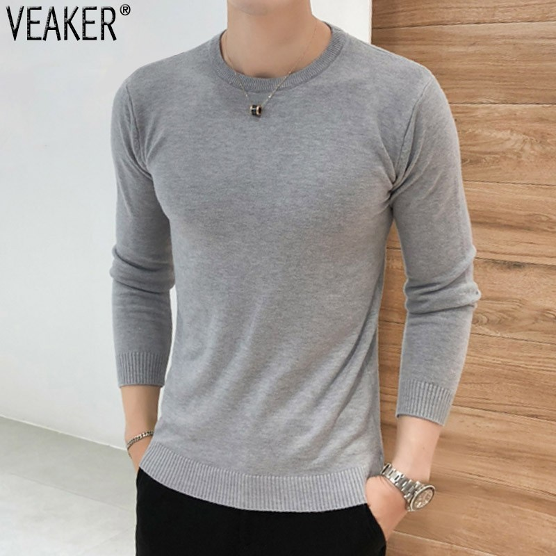 2019 Autumn New Men's Slim Fit Pullover Sweaters Male Solid Color O-Neck Sweater Black White Knitted Pullover Tops S-2XL