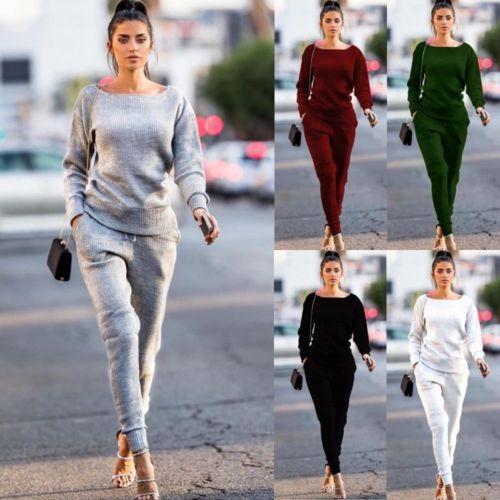 Women 2pcs Clothes Set Solid Gray Black Wine Red Long Sleeve Autumn Sweatshirt Pants Sets Casual Tracksuit Suit