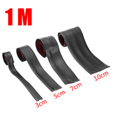 New Arrival 1M DIY Car Carbon Fiber Style Soft Rubber Door Sill Protector Edge Guard Strip Protection